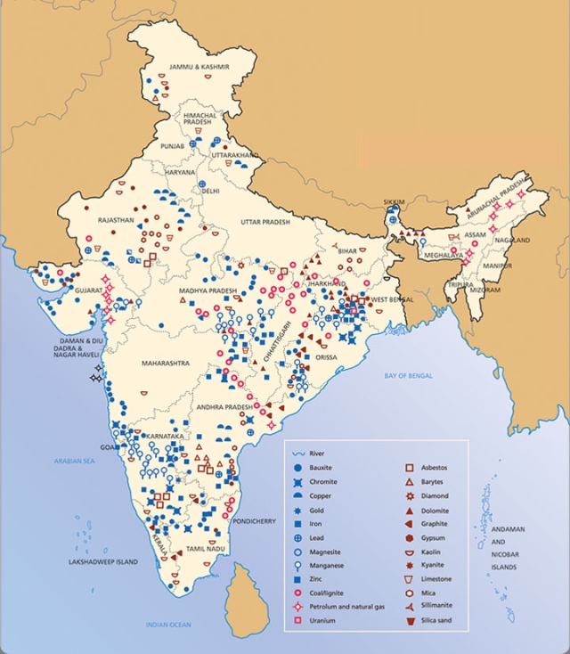 map minerals india